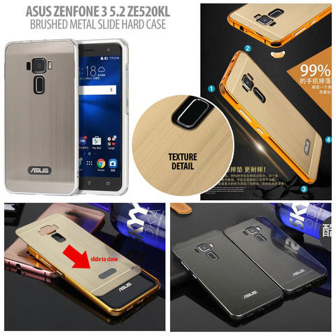 Aksesoris Asus Zenfone 3 5.2 Inch ZE520KL - Brushed Metal Slide Hard Case
