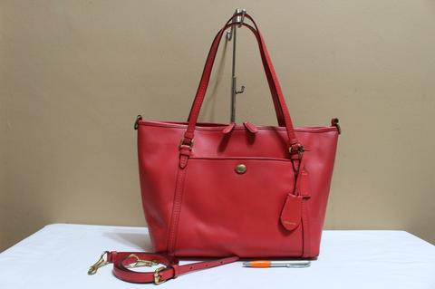 Tas branded COACH C310 Red saffiano zip tote second bekas original asli