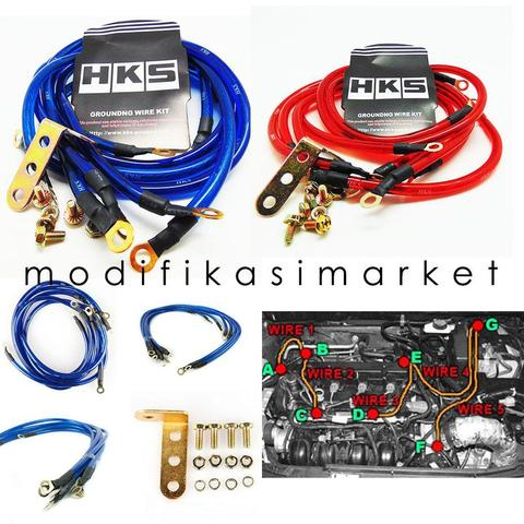 HKS Grounding Wire 5 Kabel / Kabel Grounding HKS - Merah/ Biru