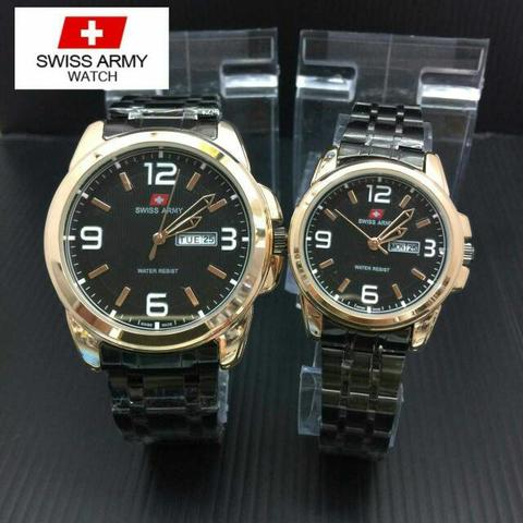 Jam Tangan Swiss Army Couple PS321 Rantai Black Rose / Kado Valentine