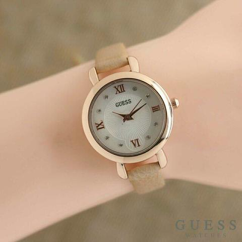 Jam Tangan Wanita / Cewek Guess Roma Mini Leather Brown