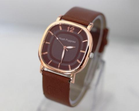Jam Tangan Wanita / Pria Hush Puppies Segi Leather Brown Rosegold