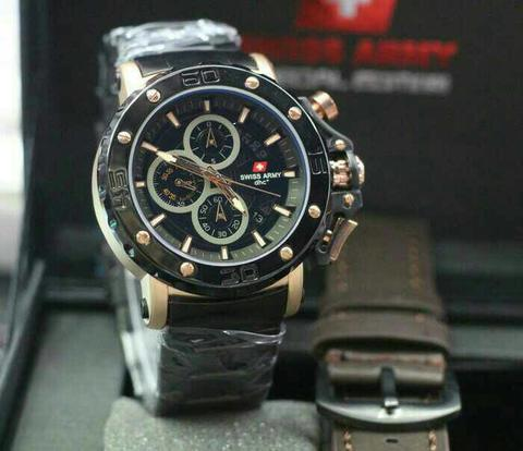 Swiss Army Paket Sa9205 Black Rosegold (Dark Brown Leather)
