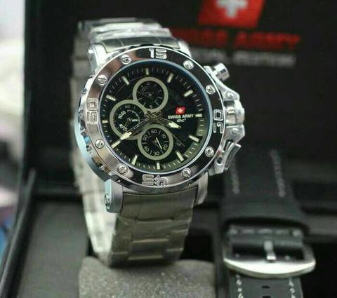 Swiss Army Paket Sa9205 Silver Plat Black (Black Leather)