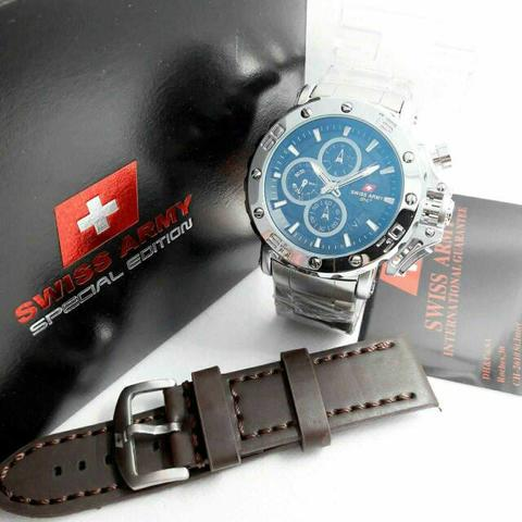 Swiss Army Paket Sa9205 Silver Plat Black (Dark Brown Leather)