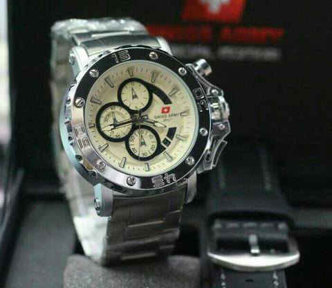 Swiss Army Paket Sa9205 Silver White (Black Leather)