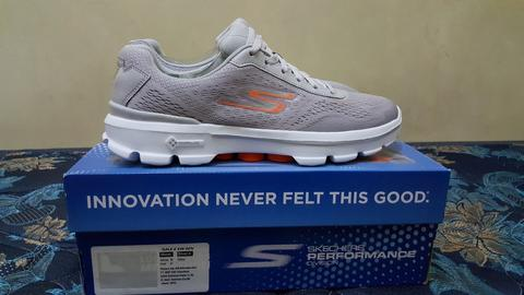 Skechers Go Walk 3 Lace Up Reaction Light Grey Orange BNIB original murah  meriah 6d3503e609