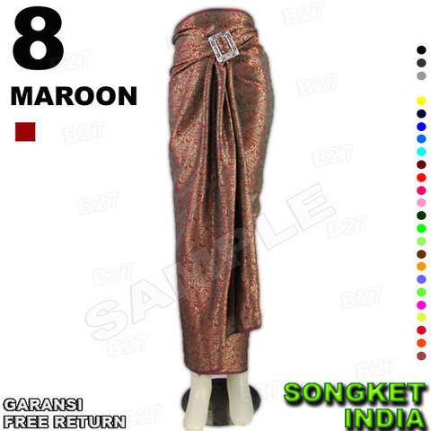 ROK LILIT INSTAN B115-8 Bahan Songket INDIA Include Ring Belt Gasper