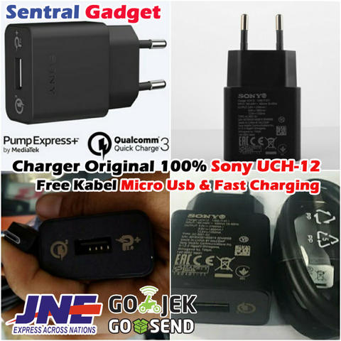 CHARGER ORIGINAL SONY UCH12 QUICK CHARGE 3.0 & PUMP EXPRESS PLUS 2 + KABEL MICRO USB