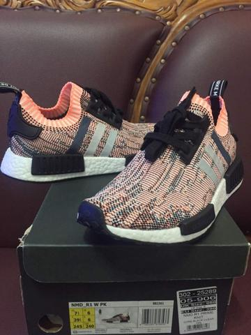 NMD R1 Tricolor Pink Salmon women 100% AUTEHTIC