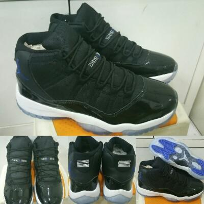 Sepatu Basket Air Jordan 11 XI High Space Jam Black White list Blue Premium  China 040aacebe9