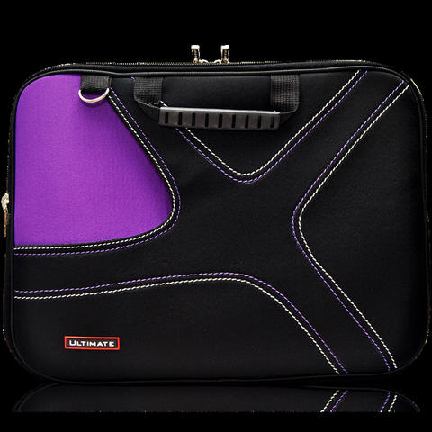 Ultimate Tas Laptop / Cover / Softcase Notebook Double X 14 inch - Hitam/Ungu