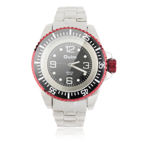 Oulm New Luxury Men Date Stainless Steel Band Quartz Analog Round Wrist Watch - Red