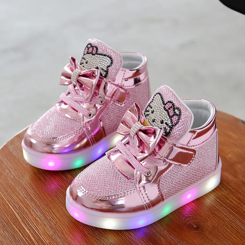 Sepatu lampu nyala Hello Kitty Helo Kity HeloKity HelloKitty LED shoes