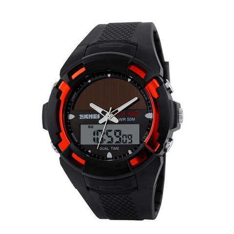 SKMEI Solar LED Watch Water Resistant 50m For Man All Size AD1056E - Merah