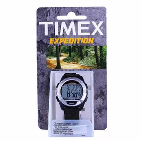 Timex T49948 Expedition Digital Black/Brown Mixed Material Strap Watch - Hitam