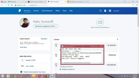 Jasa Reload Balance Paypal | Jual Beli Balance Paypal Recommended Seller