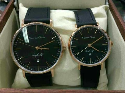 JAM TANGAN COUPLE ALEXANDRE CHRISTIE KULIT BLACK DW