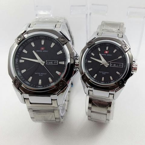 JAM TANGAN COUPLE SWISS ARMY SA-1569 FULL SILVER BLACK