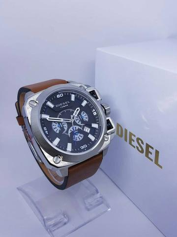 JAM TANGAN DIESEL CHRONOGRAPH SILVER SUPER LEATHER