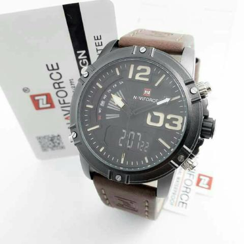 JAM TANGAN ORIGINAL NAVIGORCE NF9095 BROWN