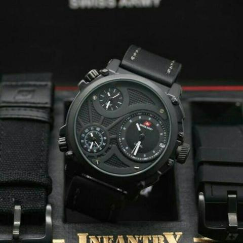 Jam Tangan Pria Swiss Army Infantry Triple Time Black White