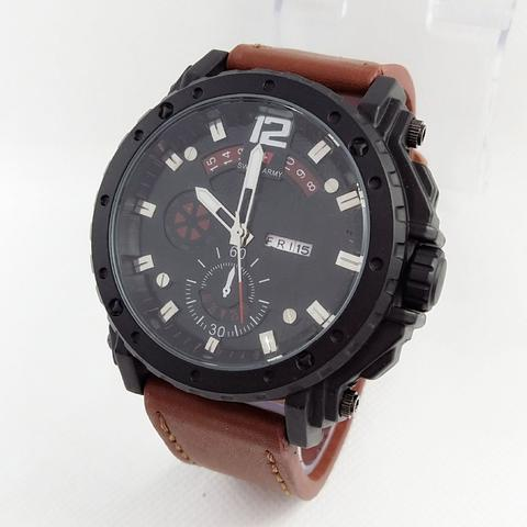 Jam Tangan Pria Sport Swiss Army Leather List Merah