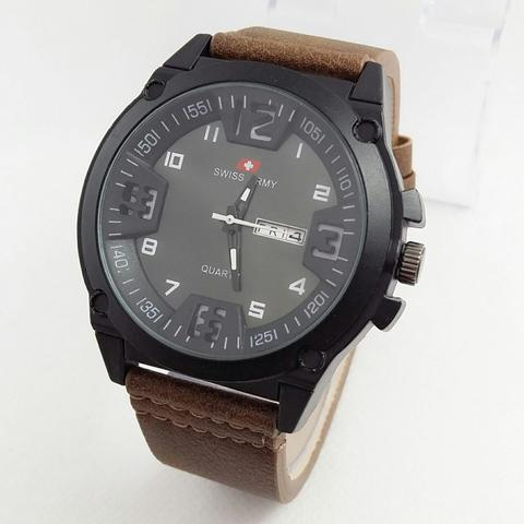 JAM TANGAN PRIA SWISS ARMY DAY DATE BROWN