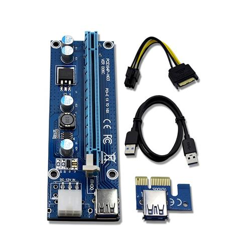 READY STOCK PCIe X1 TO X16 Bitcoin Adapter 6PIN PCIE Riser Cards