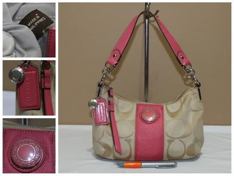 Tas branded COACH C326 Pink trim signature second bekas original asli 7a22dc9e15
