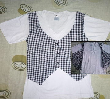 Kaos branded korea Vneck putih with vest not zara h&m