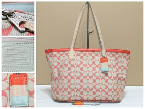 Tas branded COACH C328 Orange CC Signature zip tote second bekas ori asli