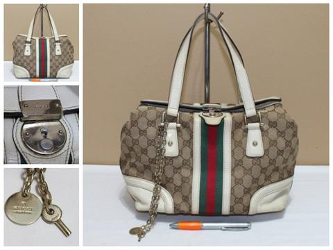 Tas branded GUCCI GC453 White trim Treasure bag second bekas original asli