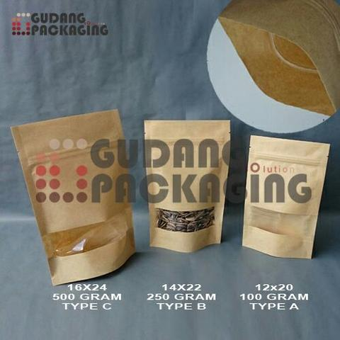 standing pouch kraft window uk. 14x22