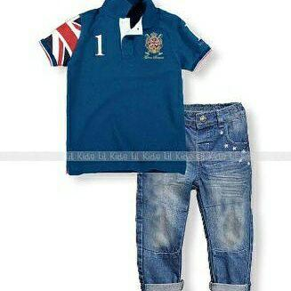 set 2in1 polo jeans+top sz 6-10th