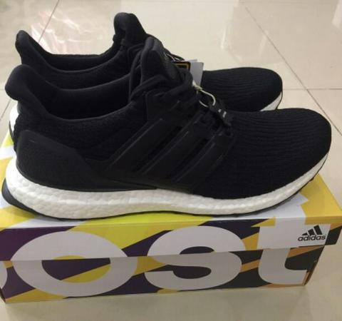 ultra boost core black leather size 44