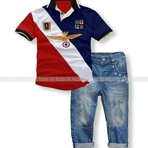 set polo jeans+top sz 8,9th