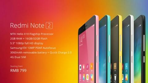 HP XIAOMI REDMI NOTE 2 RAM 2GB INTERNAL 16GB