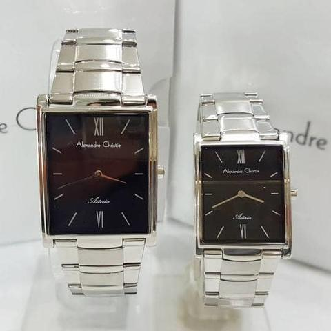 JAM TANGAN COUPLE ALEXANDRE CHRISTIE AC 8520 SILVER BLACK