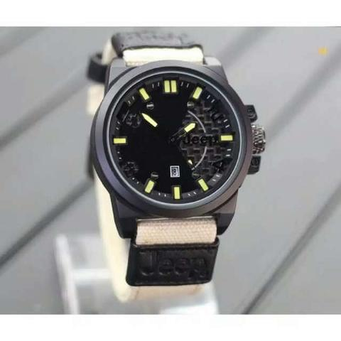 JAM TANGAN PRIA JEEP CANVAS CREAM