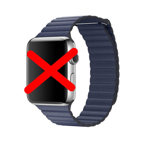 For Apple WATCH 42mm LEATHER LOOP Midnight Blue - Large┃100% ORIGINAL