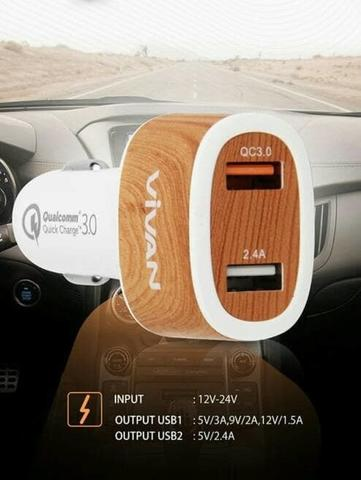Car Charger Mobil VIVAN CQ01 Quick Charge Qualcomm 3.0 Dual USB Ports Original