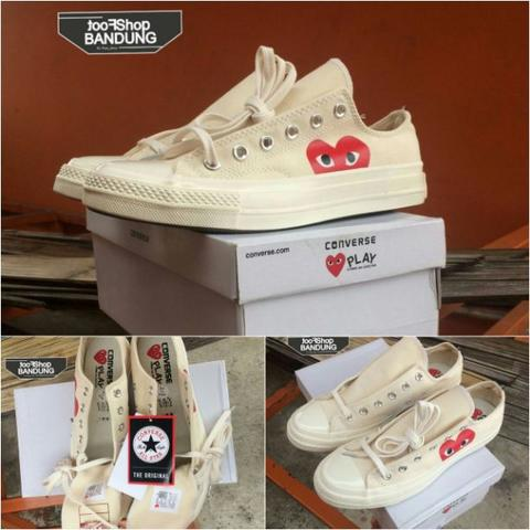 Converse All Star 70s x CDG Play Low Full White BNIB (Free tas sepatu)