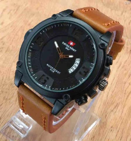 Jam Tangan Pria / Cowok Swiss Army SA Topman Leather Brown