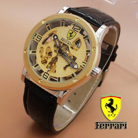 Jam Tangan Ferrari Skeleton Leather Black Gold