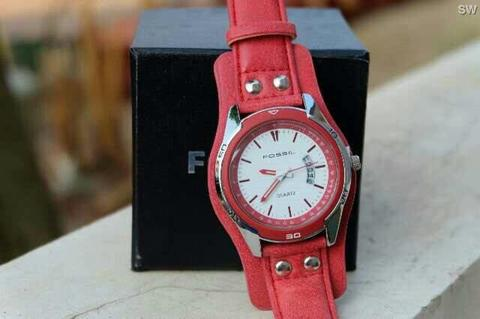 Jam Tangan Fossil Wings Leather Red