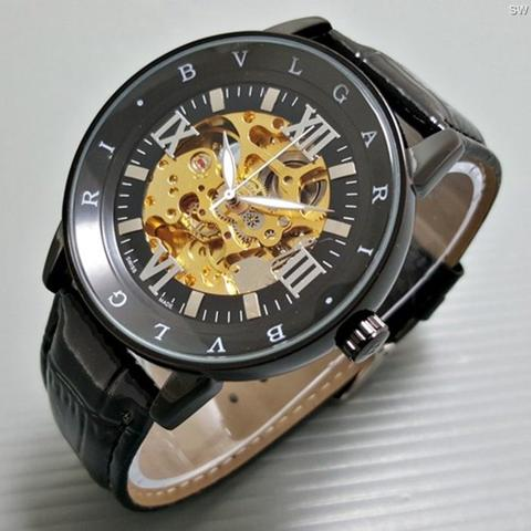 Jam Tangan Pria / Cowok Bvlgari Skeleton Romawi Leather Full Black
