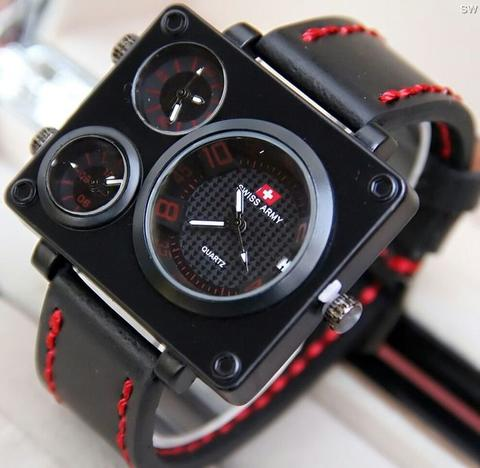 Jam Tangan Pria / Cowok Swiss Army Big Size SK1 Leather Black Red