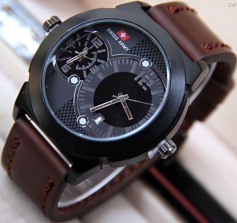 Jam Tangan Pria / Cowok Swiss Army SK250 Dual TIme Leather Dark Brown