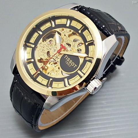 Jam Tangan Pria / Cowok Tissot Skeleton 1853 Leather Black Gold